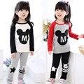 2016 otoño primavera muchacho niños niñas ropa para niños establece Minnie Mouse trajes calientes 2 unids historieta de manga larga pijamas