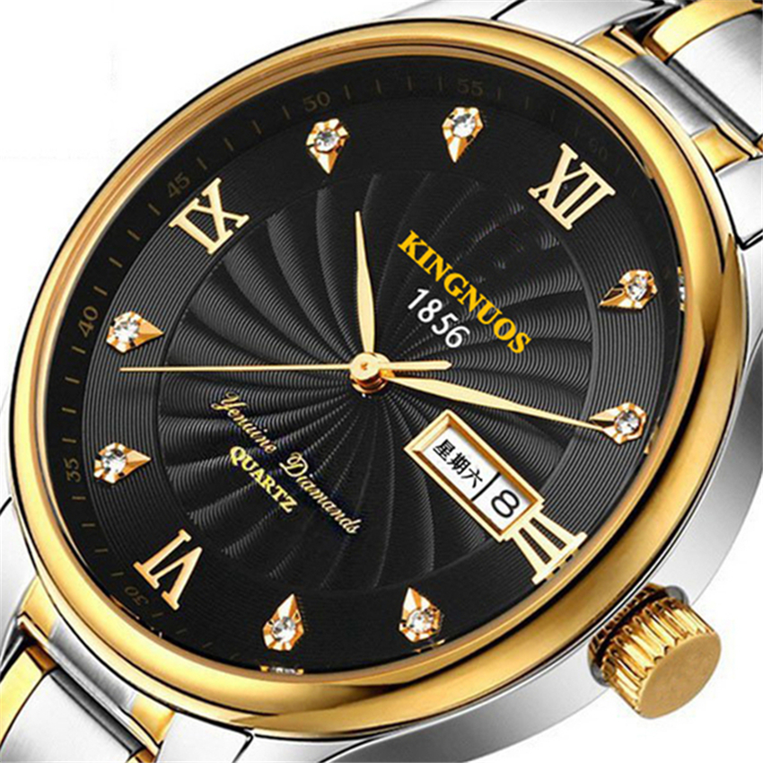 Kingnuos men 39 s watches top brand quartz clock fashion silver stainless steel water resistant for Kingnuos watch