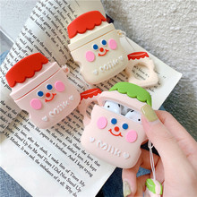 3D Cute Cartoon Yakult Milk Earphone Case For AirPods Apple Airpods Protect Cover Earpods Earbuds Ring Strap