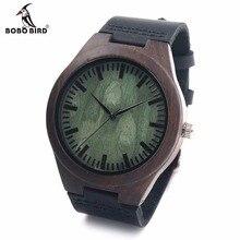 Relojes Luxulry BOBOBIRD Retro De Madera De Bambú de Calidad Superior Diseñador de la Marca Banda de Cuero Reloj de Cuarzo Relojes para Hombres