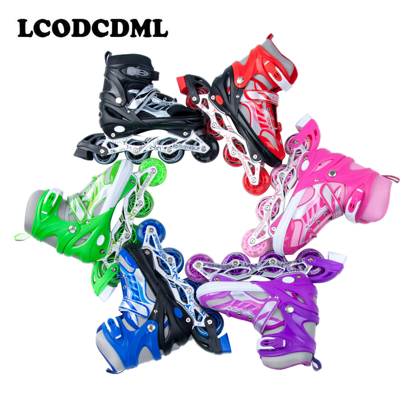 Professional Adult children Inline <font><b>Roller</b></font> skates boys and girls adjuistable PU 4wheels flashing outdoor sports