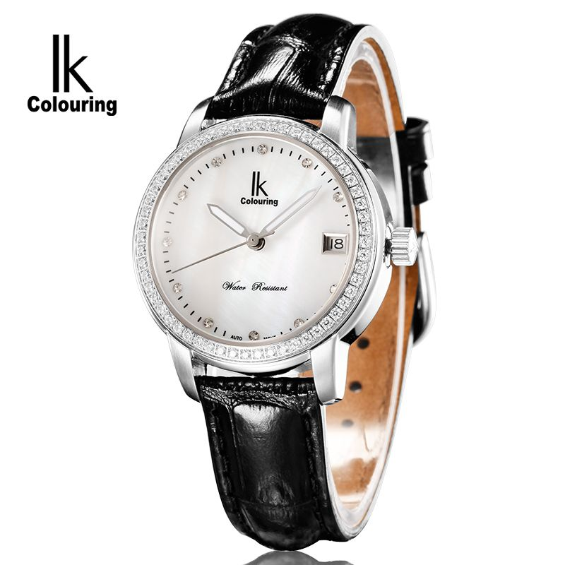 Luxury IK Coloring Women Sapphire Day Crystal Auto Mechanical Waterproof Wristwatch Genuine Leather with Oringal Box Free Ship ik coloring famous mens watches brand luxury hardlex day week month auto mechanical waterproof wristwatch oringal box free ship