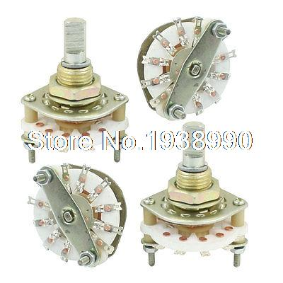 4PCS Band Channael Rotary Switch 1P10T 1 Pole 10 Position Single Deck uxcell kcx2 6 10mm mounting hole dia 2p6t 2 pole 5 way two decks 14pin band channael rotary switch selector