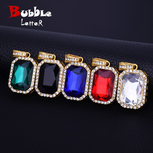 4b75350bdd24 Square Red Blue Crystal Necklace Pendant Gold Color Iced Bling Rhinestone  Men Women Hip hop Jewelry Free 20