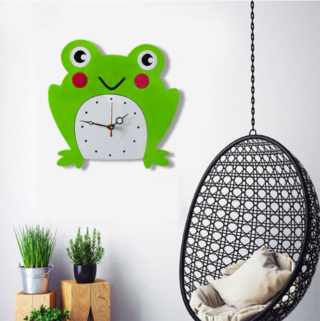 New Arrival Cartoon Frog Wall Clock Creative Acrylic Mute Children ...