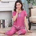 Пижама для пожилых женщин  летняя Пижама  тонкая Хлопковая пижама с коротким рукавом  брюки  женская пижама для сна