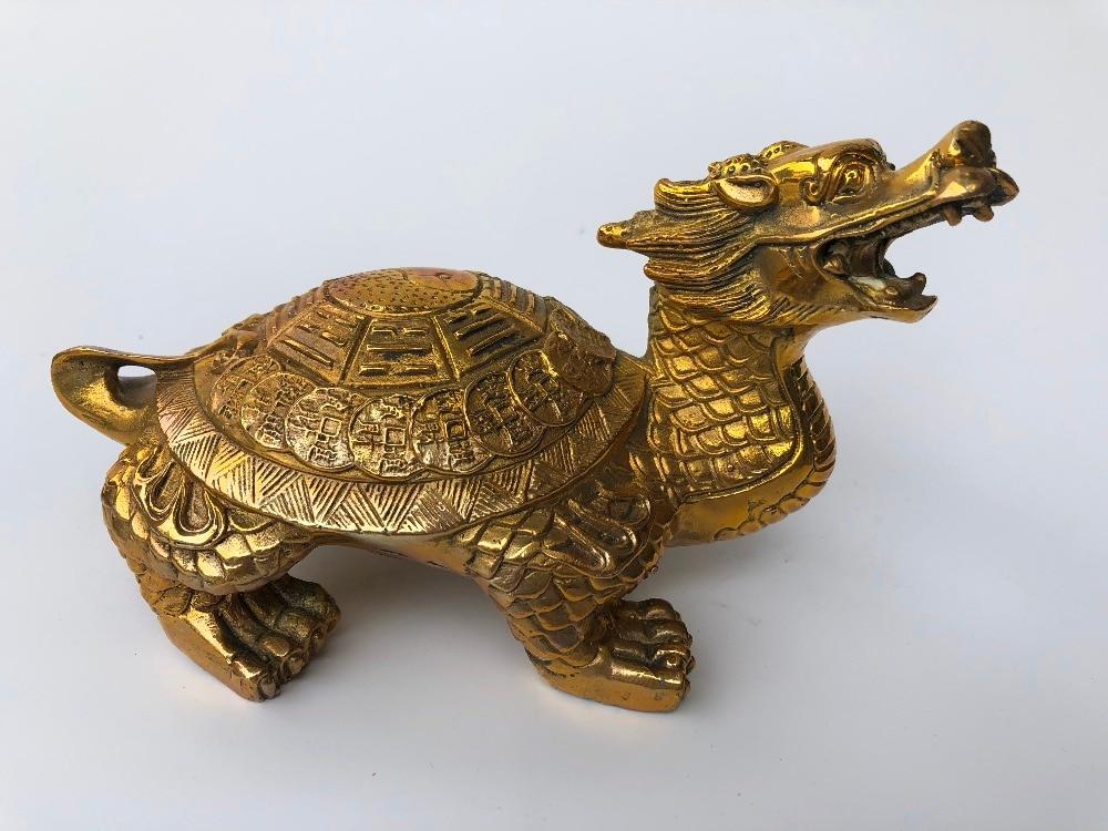 Cuivre Bagui Dragon tortue décoration maison décoration artisanat.