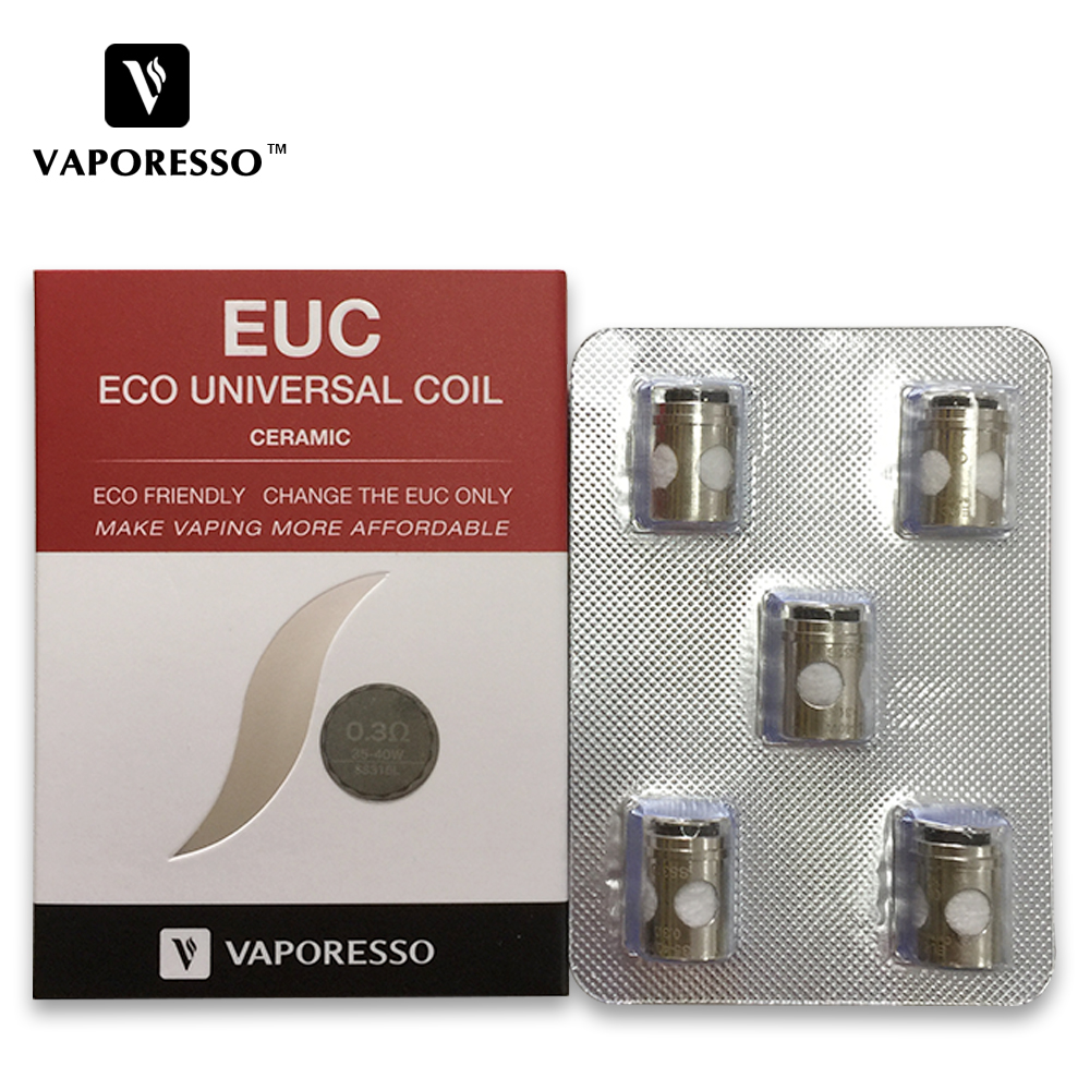 Vaporesso SS316L de EUC bobina 0.3ohm 0.5ohm 0.6ohm bobina tradicional EUC 0.4ohm para Tarot Nano/VECO Plus/tanque estoc tanque Mega