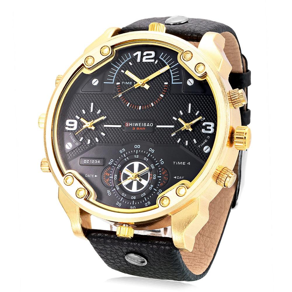 Cool Big Case Watch Men Quartz Watches Four Times Zones Golden Case Leather Military Wristwatches Relogio Masculino Esportivo
