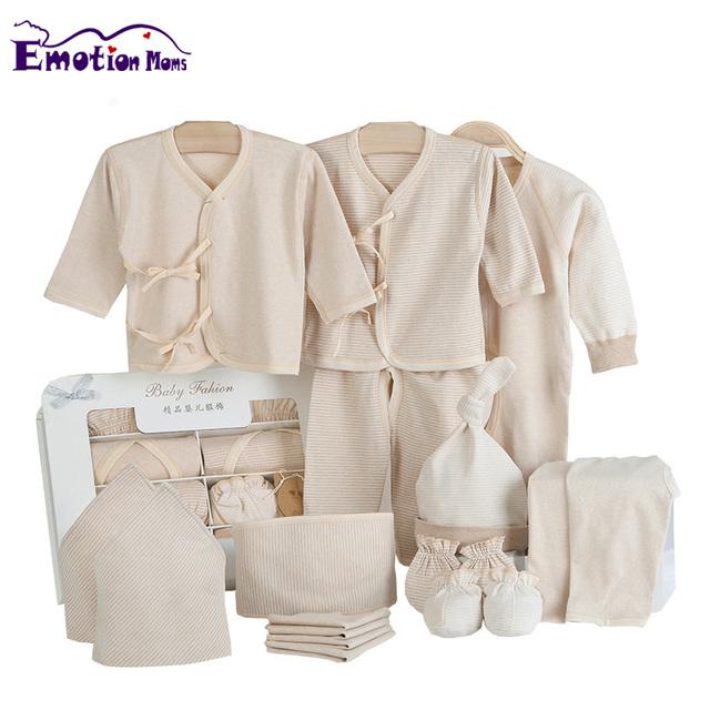 Emoção 15 Pçs/set Mães 100% fontes do bebê recém-nascido Do Presente Do Bebê Recém-nascido de Algodão Orgânico Roupas de Bebê Definir a Roupa Do Bebê crianças terno