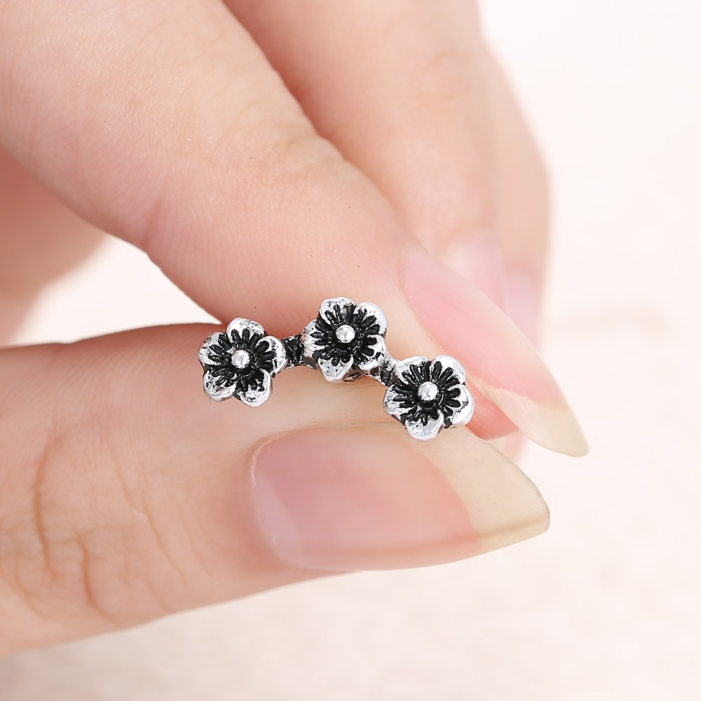 1pc Retro Stylish Bronze Antique Silver Womens 3 Plums stud earrings ...