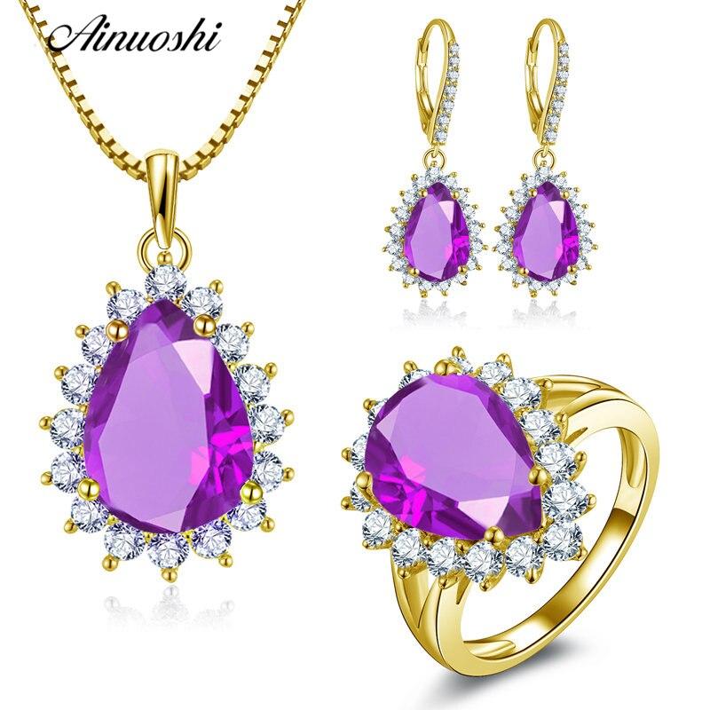 AINUOSHI 10K Solid Yellow Gold Jewelry Set Pear Cut Purple Teardrop Pendant Ring Drop Earring Luxury Wedding Women Jewelry Set