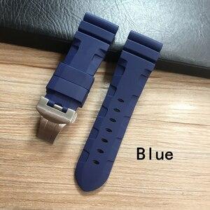 Image 3 - Whatchband Correa de silicona para reloj, correa de reloj negra, azul o naranja, roja, gris y verde de 24 y 26mm, con hebilla de mariposa y grabado