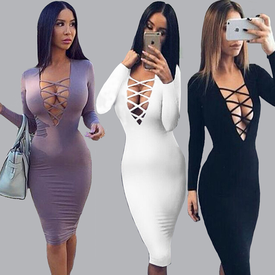 Plus Size Vestidos Cotton Women Tie Up Autumn Bodycon Party Dress Sexy Deep V  Neck Criss Long Sleeve Night Club Bandage Dress 35d266628389