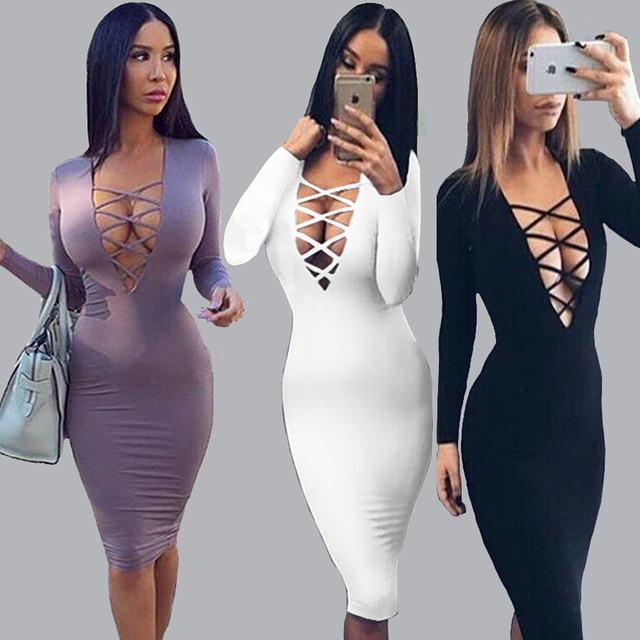 26453b16745 Plus Size Vestidos Cotton Women Tie Up Autumn Bodycon Party Dress Sexy Deep V  Neck Criss Long Sleeve Night Club Bandage Dress