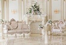 Laeacco Palácio Interior Lareira Poltronas Flores Backdrops Para Estúdio de Fotografia Fotografia Fundos Fotográficos Personalizados