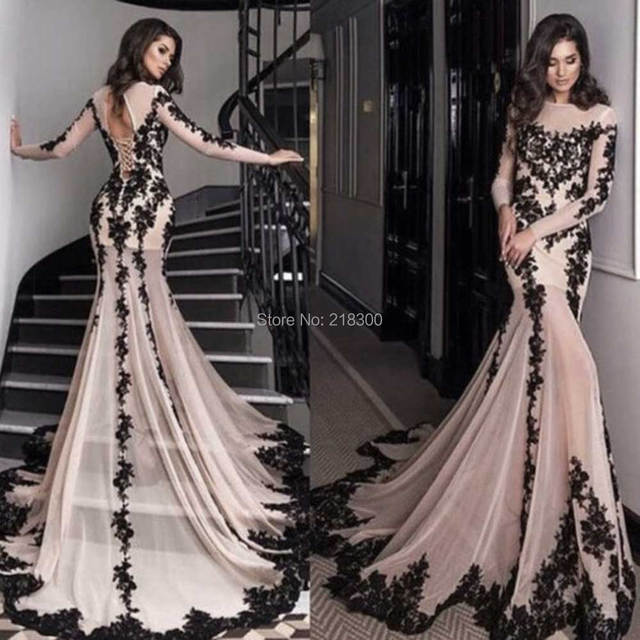 Aliexpress.com : Buy Champagne black lace mermaid prom dresses ...