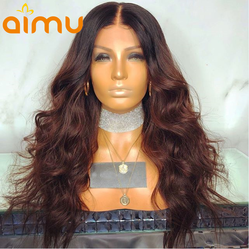 13X6 Deep Part Ombre Lace Front Wig With Baby Hair 180 Density Pre Plucked Peruvian Remy