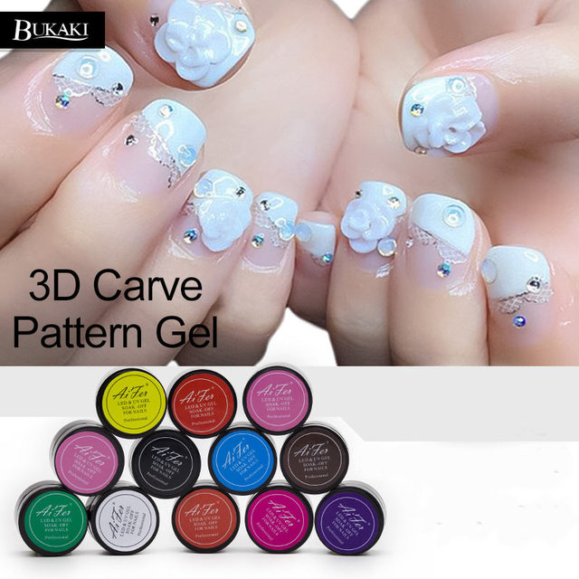 Bukaki 1pcs Fashion 12 Colors Nail Polish Uv Led Glitter Sculpture Carved Glue Gel
