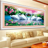 DIY 5D Swan Eternal Love Round Diamond Painting Cross Stitch Kits Soulmate Diamond Mosaic Home Decoration
