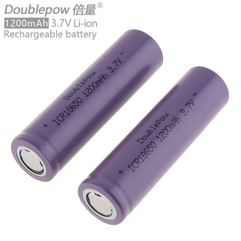 2pcs Doublepow ICR18650 1200mAh 3.7V Li-ion Rechargeable Battery with Safety Relief Valve for flashlight power bank 2pcs lot free shipping 16500 battery 1200mah 3 7v li ion rechargeable battery with flat top