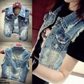 2017 Spring all-match mm kaross plus size denim vest vintage short design vest outerwear female
