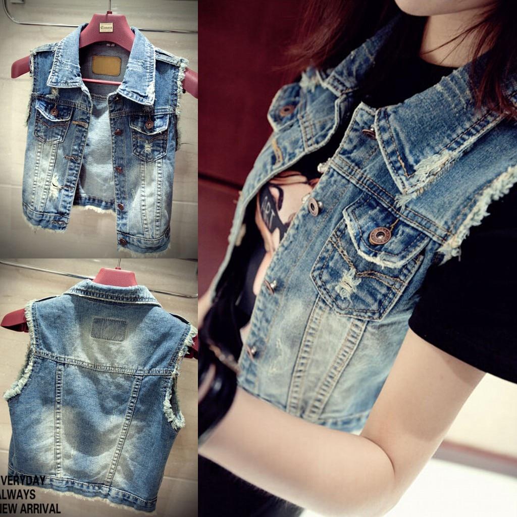 2018 Spring all-match mm kaross plus size denim vest vintage short design vest outerwear female