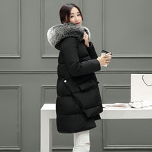 Maternity wadded jacket winter down cotton-padded jacket loose plus size fur collar outerwear medium-long maternity winter