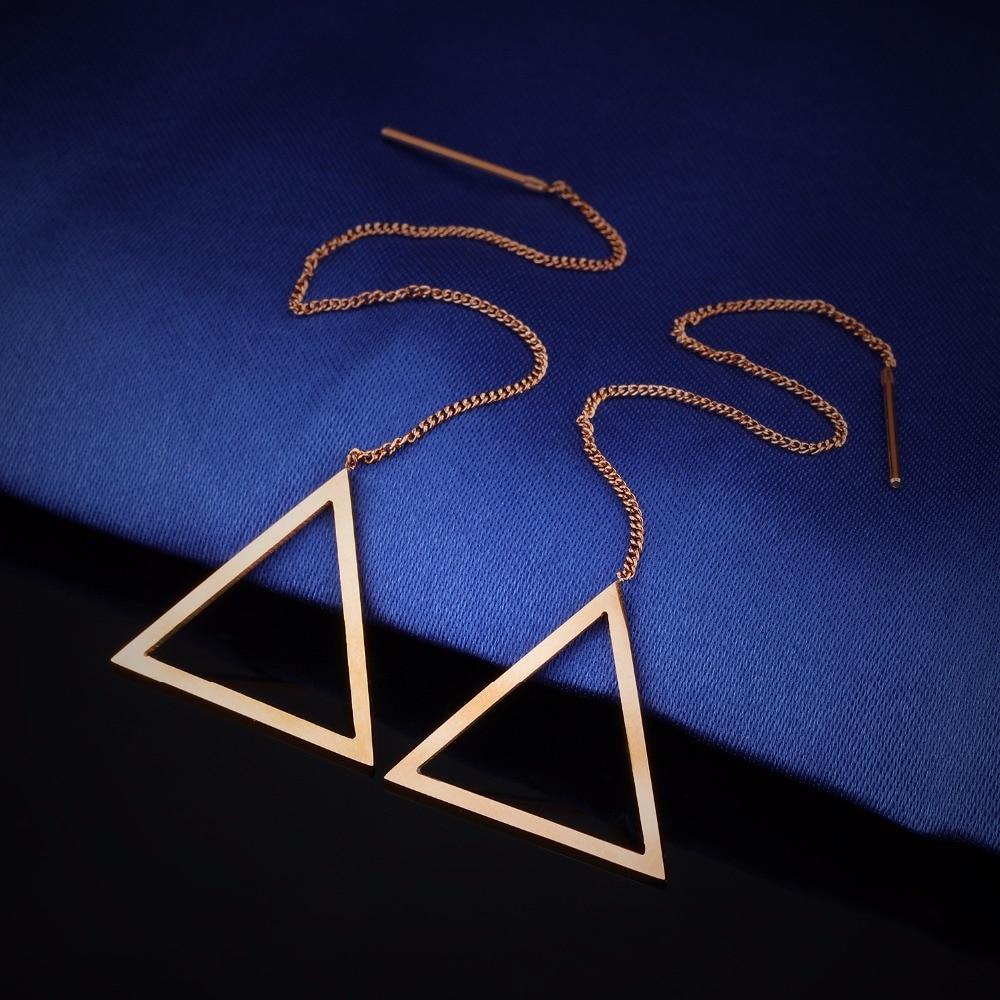 Rose Gold Rantai Gantung Geometris Anting Dalam Stainless Steel Segitiga Ge335 01 02 03