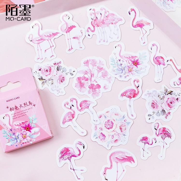 45 шт./упак. розовый наклейки с Фламинго Декоративные Канцелярские Скрапбукинг Diy дневник альбом лейбле палки