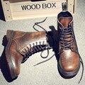 Мужская мода Сапоги Натуральная Кожа Резиновая Мартин Сапоги Осень Открытый Мужчины Обувь Мужская Обувь Лодыжки Вскользь Ботинки Большой Размер 37-47