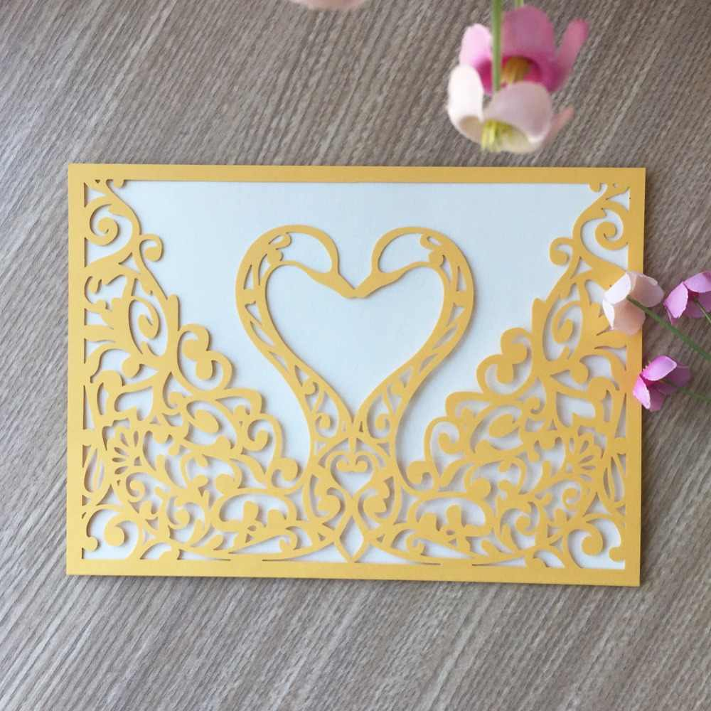100 шт приглашение на празднование свадьбы карты романтические декоративные карты нежные резные Лебедь шаблон свадебные приглашения вечерние поставки