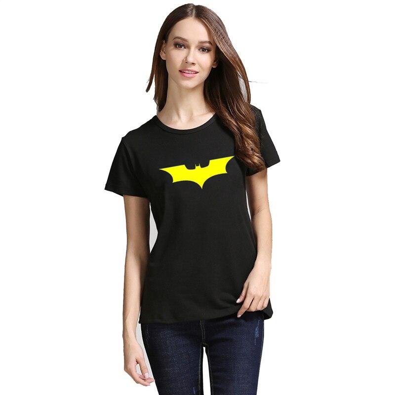women summer tshirt printed Batman short sleeve Stretch Cotton tshirt Batman Dark Knight Logo style