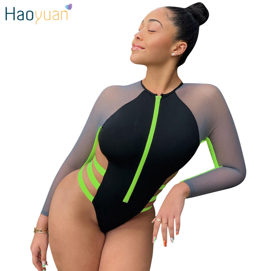 HAOYUAN Sexy Bodysuit Women Streetwear Summer Beach Overalls Mesh Splice Long Sleeve Bodycon Swimsuit   Jumpsuit   Rompers Tops