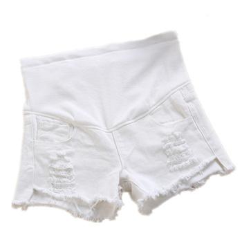 Lato macierzyństwo trzymać krótkie dżinsy białe spodenki jeansowe kobiet w ciąży spodenki spodnie pomieścić brzuch trzymać zdjęcia ciążowe tanie i dobre opinie Szorty WOMEN Stałe Na co dzień Suknem COTTON Poliester Natural color REGULAR yuanjiaxin Elastyczny pas