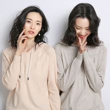 2019 Spring and summer cashmere sweater thin section knit loose hooded sports Pure color  Cashmere knitted pullover