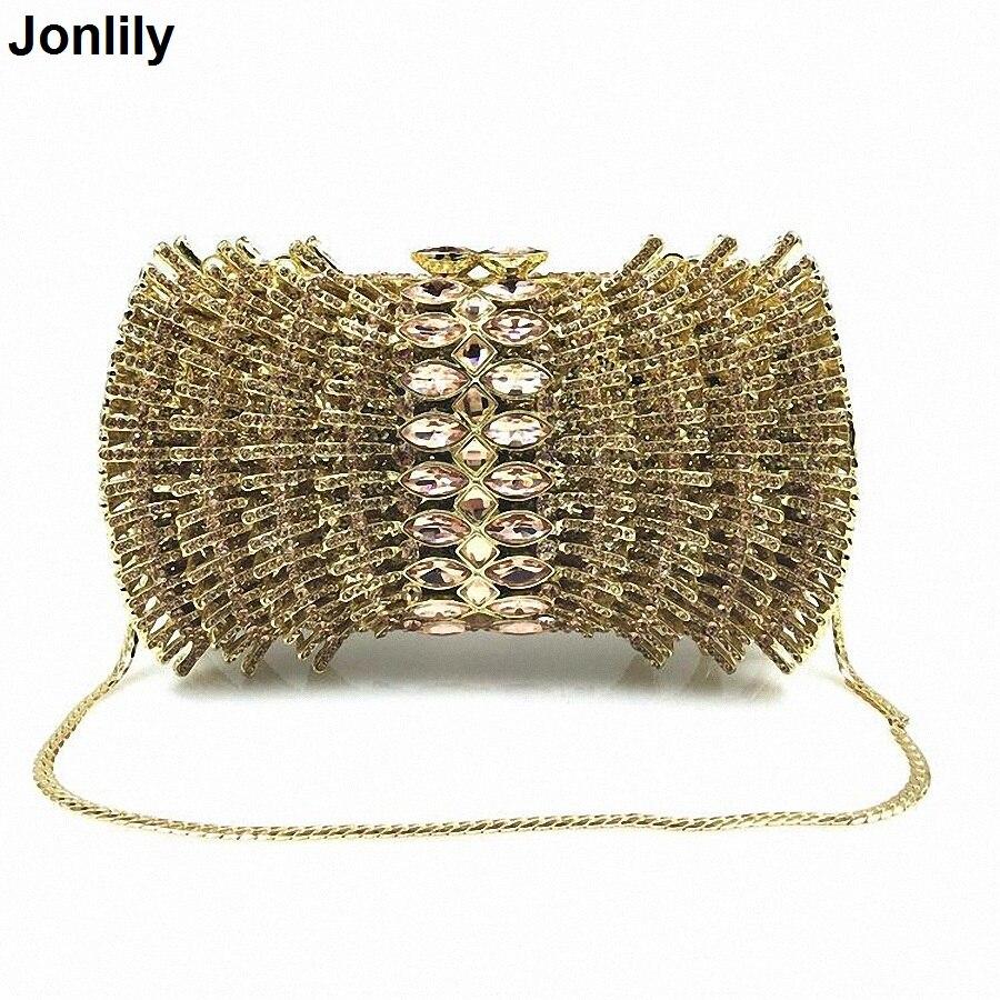 New Luxury Ladies Clutch Evening Bags Gold Crystal Clutch Bags Banquet Bags Women Soiree Handbag Prom Bling Bag LI-1577