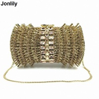 New Luxury Ladies Clutch Evening Bags Gold Crystal Clutch Bags Banquet Bags Women Soiree Handbag Prom Bling Bag LI 1577