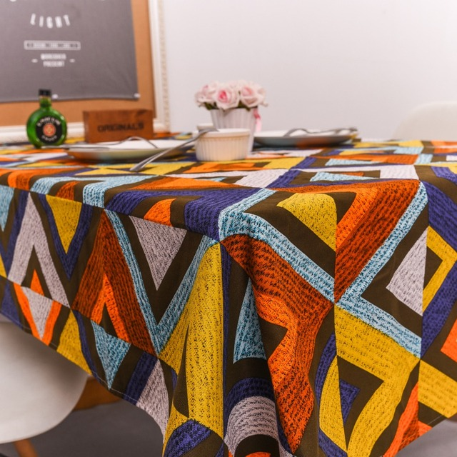 Superior Color Geometric Tablecloth Stripes Wavy Pattern Cotton Thicker Tablecloths  Simple Wild Hotel Tablecloth Towel