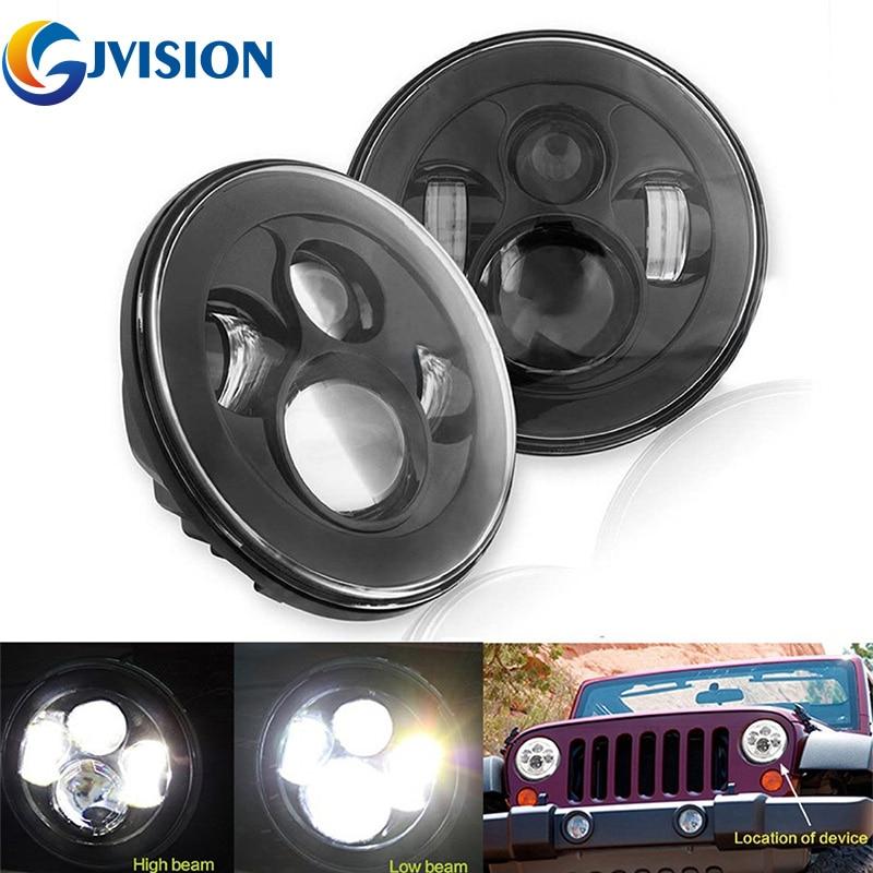 2шт черный 7 дюймов круглые фары дневные ходовые огни 12 Вольт светодиодные фонари для Jeep Вранглер JK и TJ СИДЖЕЙ светодиодный проектор фары