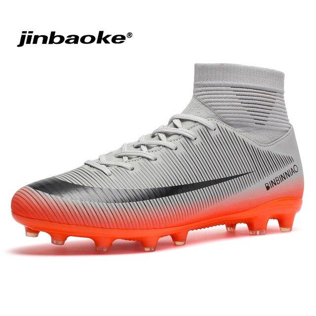 8aa49586afcbc JINBAOKE piłka halowa buty wysokie kostki męskie buty sport piłka nożna  Boot Futzalki korki buty piłkarskie