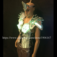 Led Luminous Performance Crystal Costumes LED Men s Clothing DJ Suits With Led Mask Singer Dancer