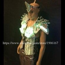 С подсветкой производительность Кристалл Костюмы LED Мужская Одежда DJ Костюмы с led маска певица танцор светодиод мигает Этап одежда