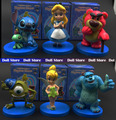 6pcs/lot PVC 8CM Anime figures Alice/Stitch/Monsters Inc/Toy Story action figure set toy story figure set Best  gift for girls
