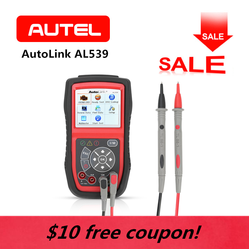 AUTEL AutoLink AL539 OBD2 Auto Scan Tool AVO meter MIL Electrical Circuit Battery Tests Voltage OBDII Diagnostic Code Reader free shipping high quality autel autolink al301 obd2 can code reader auto link al301 auto diagnostic scan