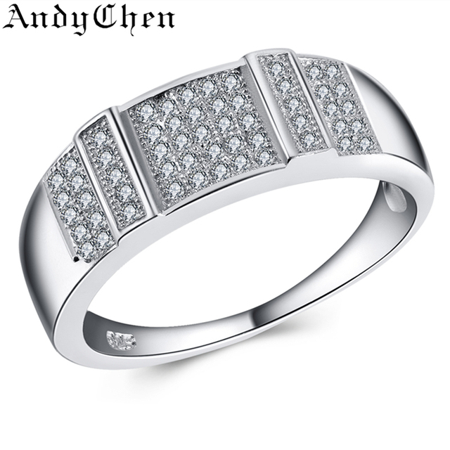 Trendy Pure Solid Wedding Bands Genuine Round 925 Sterling Silver 4.6 Gram CZ Diamond Jewelry Engagement Rings For Women ASR442