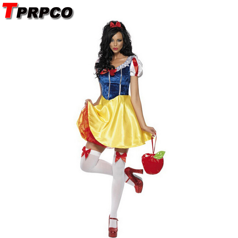 TPRPCO Adult Snow White Costume Carnival Halloween Costumes For Women Fairy tale Clothes Dress Female NL128