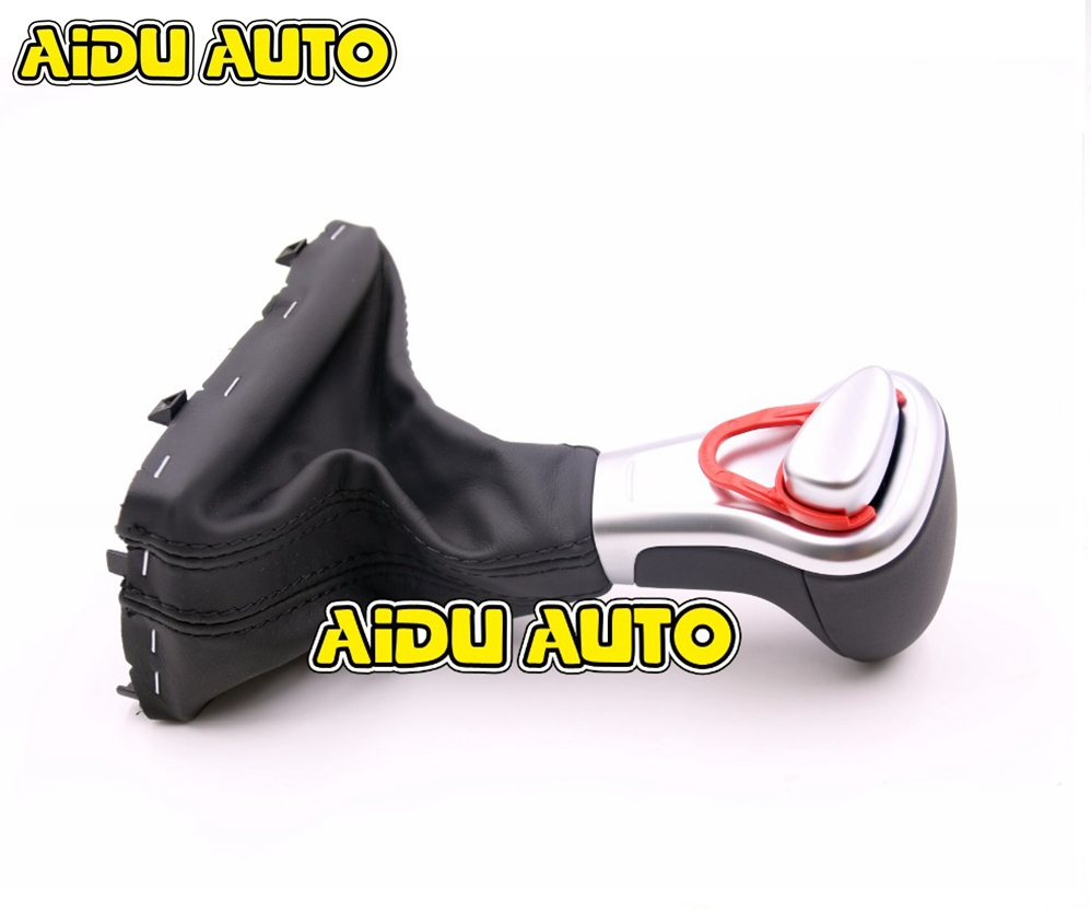 Leather Gear Lever AT Shift Knob Cover For Audi A3 A4 A5 A6 Q5 Q7 цены
