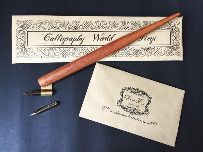 Wood Copperplate Script Oblique Dip Pen Nib Holder Handmade Calligraphy Gift
