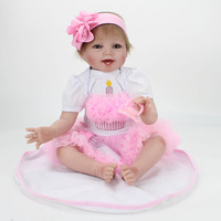22 inch Silicone Reborn Babies Dolls Dolls For Girls Vinyl Realistic Doll Reborn Kids Christmas Gifts Toys